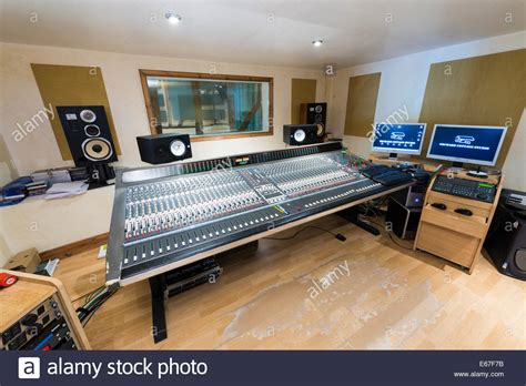 recording studio mixing desk inside a recording studio with mixing desk and