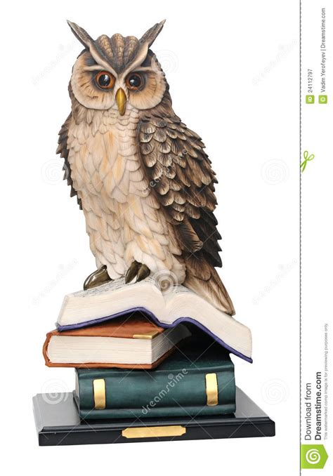 owl picture book stack of books and owl royalty free stock photography