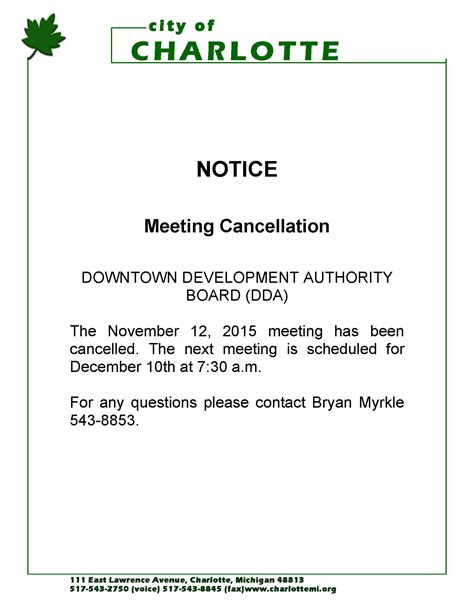 notice of meeting cancellation for the downtown
