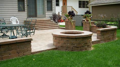 pit on patio pavers backyard patio pavers unilock paver patio firepit