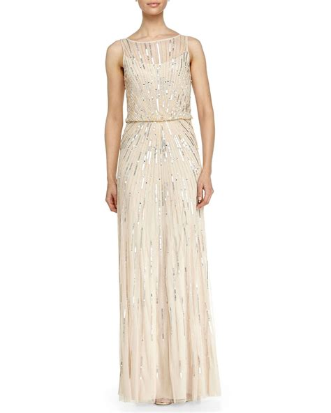 beaded illusion gown aidan mattox illusion neck beaded gown in metallic lyst