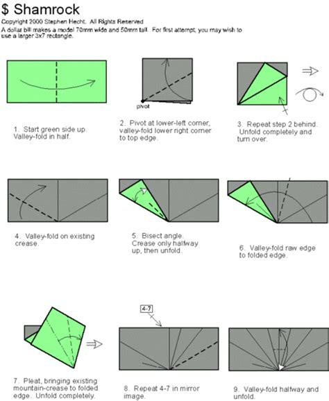 dollar bill origami diagrams how to fold a shamrock from a dollar bill 187 curbly diy
