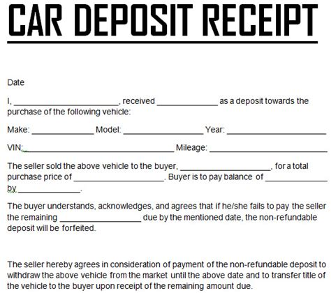 how to make a car payment with a credit card free car payment deposit receipt template excel