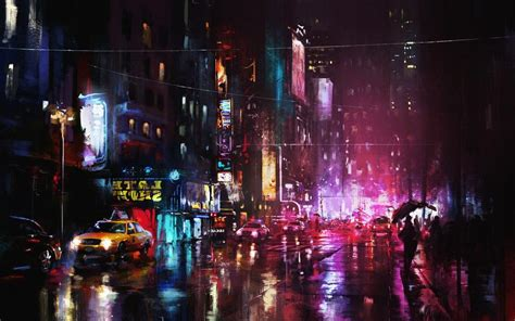 Painting City Lights Wallpaper