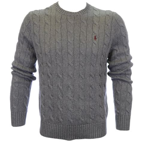 Polo Ralph Cable Knit Jumper Grey Polo Ralph