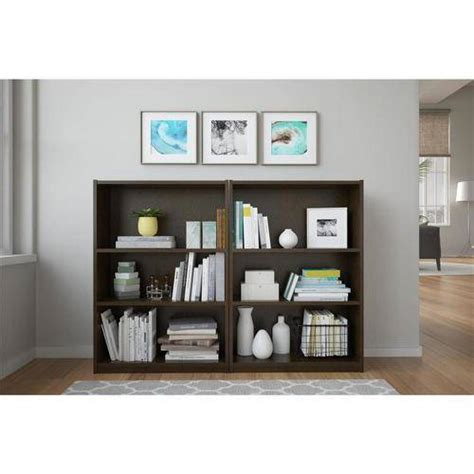 walmart bookshelves ameriwood 3 shelf bookcases set of 2 mix and match