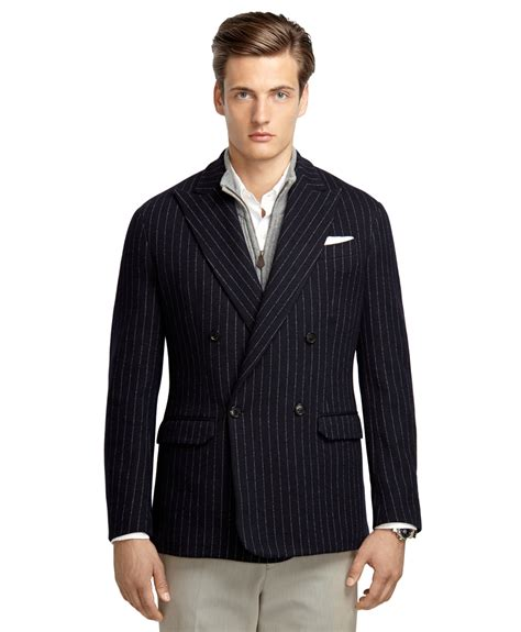 mens knit blazer brothers navy stripe breasted knit blazer in