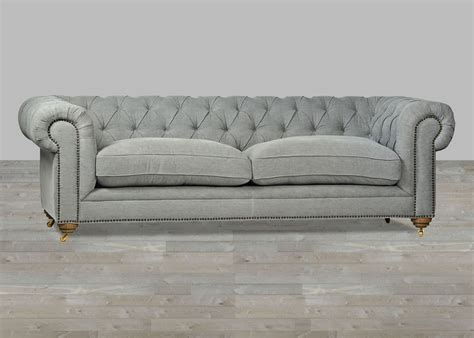 grey leather tufted sofa upholstered sofa grey chesterfield style button tufted