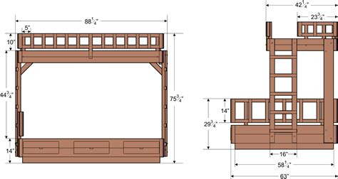 dimensions of bunk beds plans for bunk bed with stairs new generation woodworking