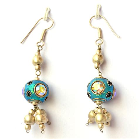 handmade beaded earrings handmade earrings aqua glitter with