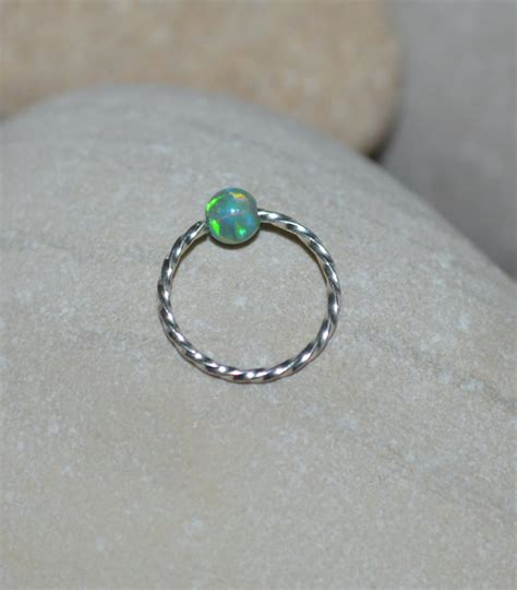 captive bead ring nose piercing opal nose ring silver nose piercing captive bead ring