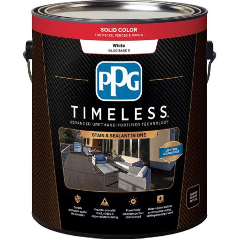 home depot paint can ppg timeless white base 1 solid exterior stain ppg3101v 01