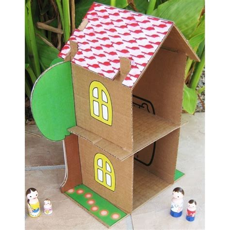 cardboard paper craft cardboard dollhouse pdf pattern recycle cardboard boxes