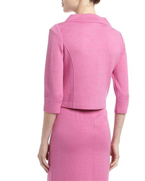 st santana knit jacket st pink santana knit funnel collar jacket lyst