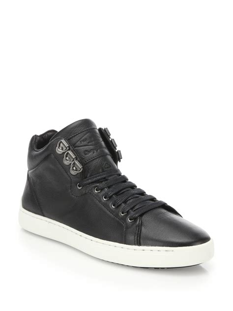 leather high top shoes for rag bone kent leather high top sneakers in black for