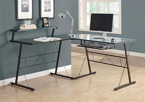 black l shaped computer desk cool glass computer desks for home office minimalist desk design ideas