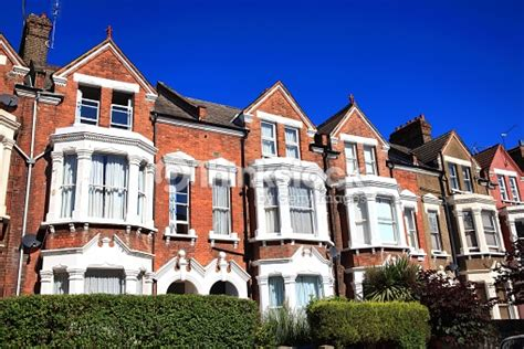 fashioned house fashioned typical terraced town houses stock
