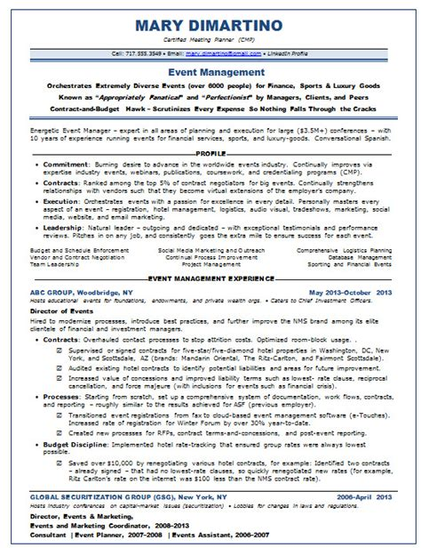 resume events assistant
