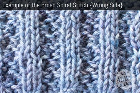 rib knit broad spiral stitch knitting stitches new stitch a day
