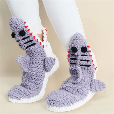 knitted shark booties knitted shark slipper socks in light gray