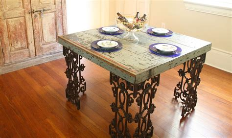 distressed dining room table made new orleans dining room table made from distressed wood and wrought iron by doorman