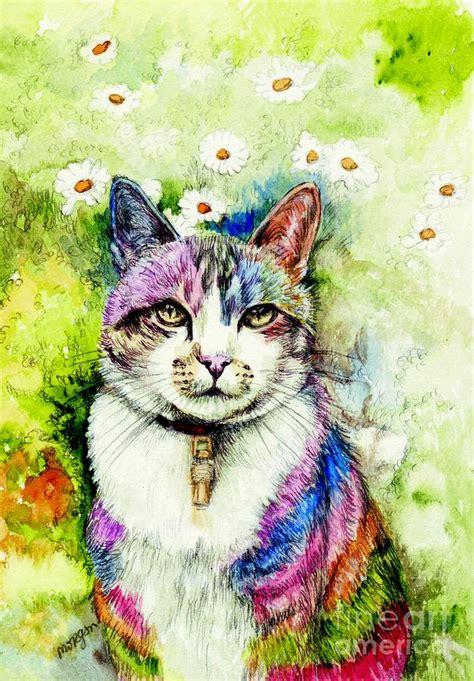 rainbow cat painting rainbow cat by fitzsimons