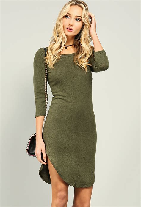 knit t shirt dress 3 4 sleeve knit t shirt dress shop at papaya clothing