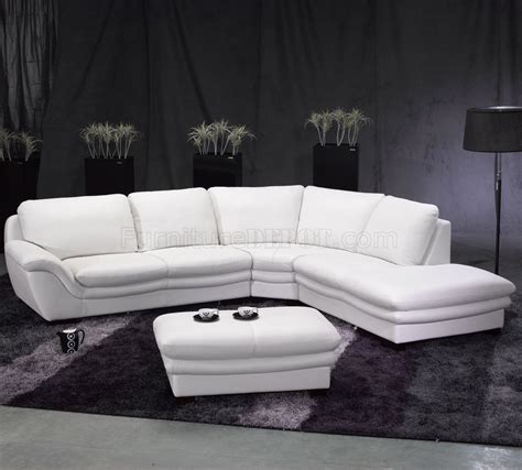 white sectional sofa leather white leather contemporary sectional sofa w ottoman