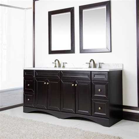 Overstock Bathroom Vanities by Corvus Espresso Cabinet With 72 Inch Italian Carrera