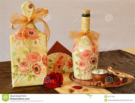 decoupage items handmade decoration with antique effects and decoupage