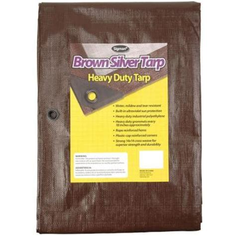 home depot paint tarp sigman 10 ft x 20 ft brown silver heavy duty tarp
