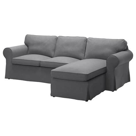 ektorp two seat sofa and chaise longue nordvalla grey ikea