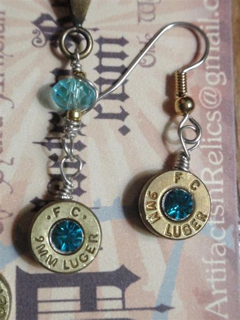 how to make jewelry from bullet casings bullet casing jewelry set 9mm necklace and by artifactsnrelics