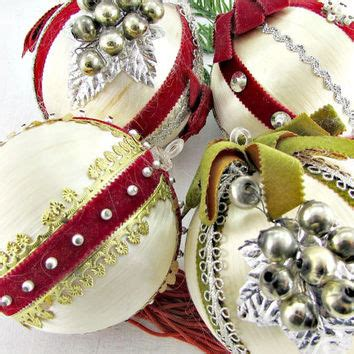 ribbon bead tree ornaments vintage ornament set from redgarnetvintage on