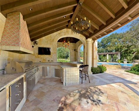 covered outdoor kitchen designs outdoor kitchen designs featuring pizza ovens fireplaces