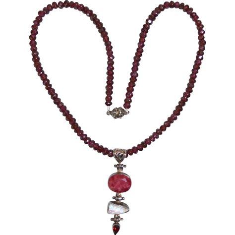 garnet bead necklace vintage asian garnet beaded necklace with pendant drop