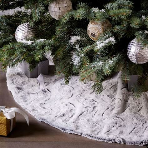 tree skirt white faux fur tree skirt white swirl west elm