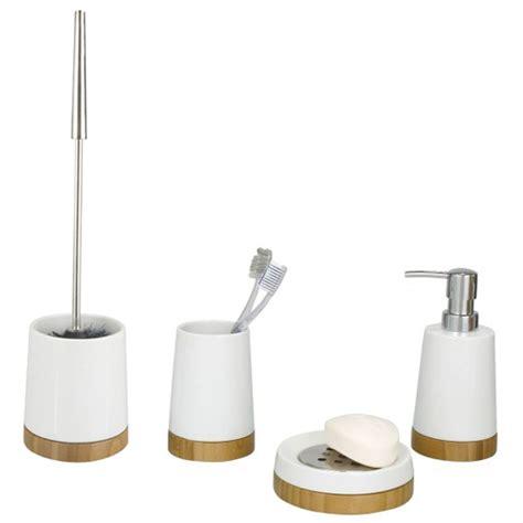 bathroom accessories ceramic wenko bamboo ceramic bathroom accessories set at