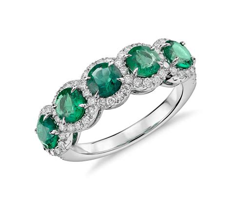 emerald jewellery emerald and five halo ring in 18k white gold