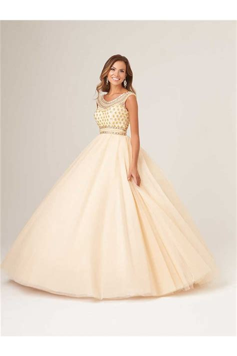 prom dress with gold beading gown scoop neck open back chagne tulle gold beaded