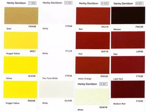 paint colors for harley harley davidson paint color chart chart harley davidson