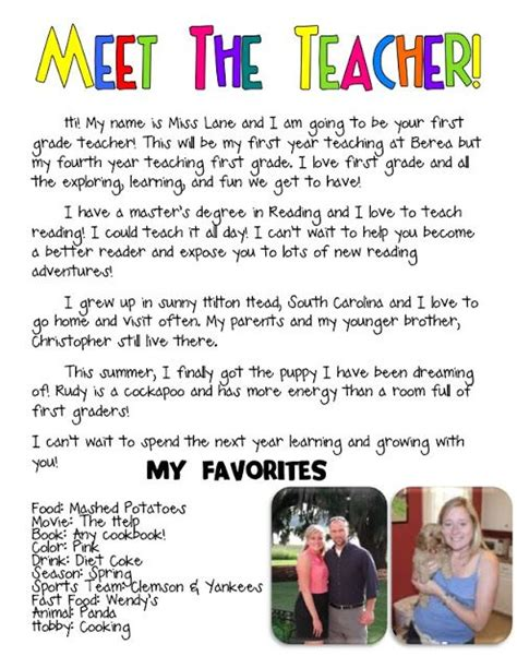 meet the teacher introduction letter first days of