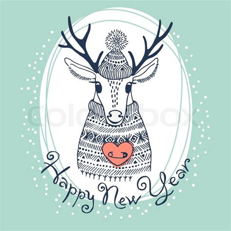 New Home Plans And Prices hand drawn vector illustration with cute deer happy new