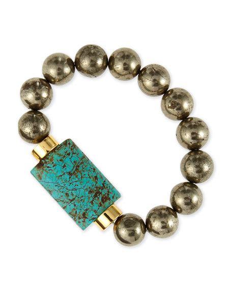 bead stretch bracelet nest jewelry turquoise pyrite bead stretch bracelet