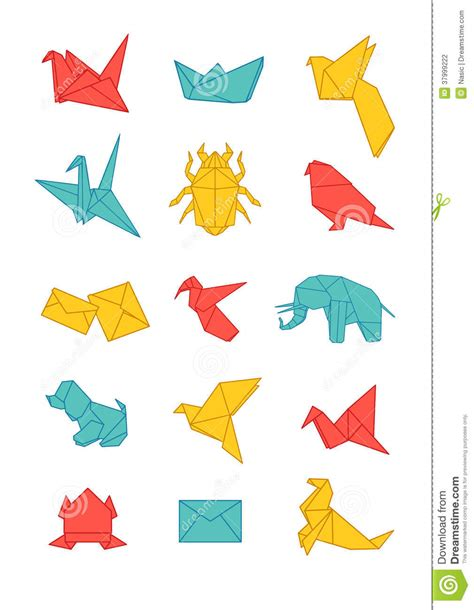 colorful origami colorful origami icons pack stock photography image
