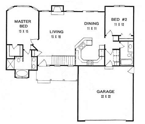 2 bedroom ranch floor plans house plan 62518 at familyhomeplans
