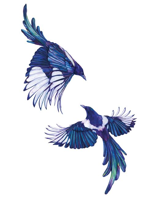 magpies two for joy signed gesso print jam art