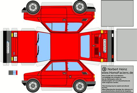 Fiat 126 Car Paper Craft Fiat 126