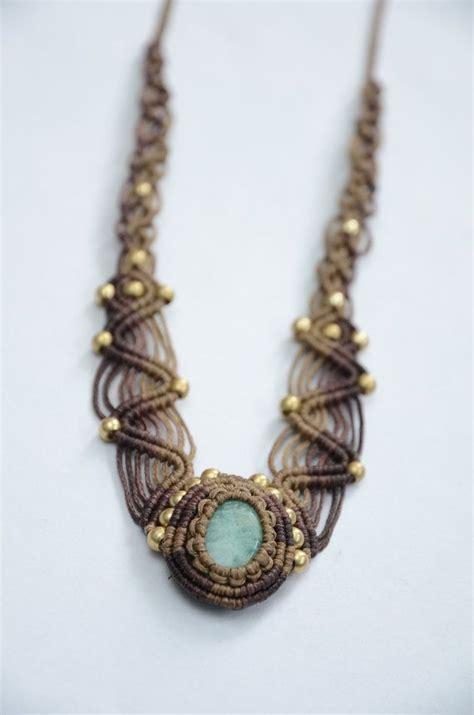 macrame beading macrame necklace with brass and aventurine