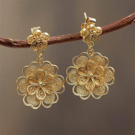 filigree jewelry gold plated filigree handmade flower dangle earrings